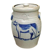 Lidded Rowe Pottery Crock With Cobalt Cow Dated 1986