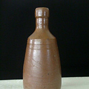 SALE Brown Glazed Stoneware Bottle By Rangel R Portugal