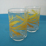 Pair Libbey Small Juice Glasses Golden Wheat Pattern