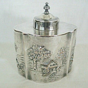 SALE Sheffield Tea Caddy With Figural Farm Scenes