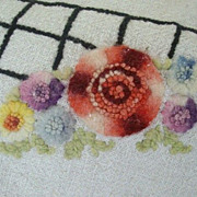 Colorful Tufted or Punched Tablecloth Needs TLC