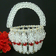 Beaded Safety Pin Basket Dated 1960's