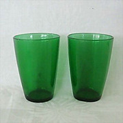 Pair Forest Green Tapered Flat Juice Glasses