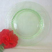 Green Hocking Glass Swirl Pattern Luncheon Plate
