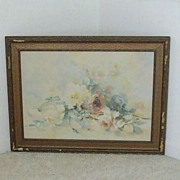 SALE Old Watercolor Features Cabbage Roses - Artist Signed