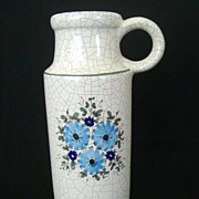 SALE Tall Blue-Flowered Jug Vase - Unknown Signature