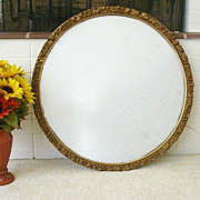 SALE Round Molded Gesso Mirror Dated 1930's - 1940s