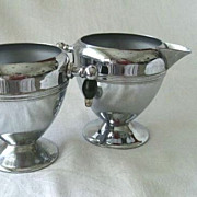 SALE Keystone Ware Sugar & Creamer Set Chrome Plate On Copper