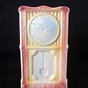 SALE American Bisque Whimsical Grandfather Clock Wall Pocket Or Planter