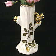 SALE Small Novelty Vase Features 22K Gold Squirrel