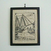 SALE Framed Embroidery With Nautical Theme