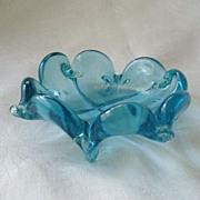 SALE Magnificent Blue Murano-Style Art Glass Bowl