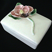 SALE Ceramic Cigarette Box With Pretty Raised Flower - 1950's