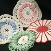 Collection of Four Colorful Crocheted Potholders