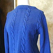 SALE Hand-Made Royal Blue Cable Stitch Sweater 1950's