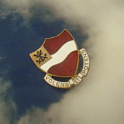 Army Military 1940's Pin With Latin Motto