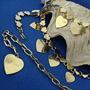 SALE Gold-tone Hearts Dangle From 1950's Fun Belt