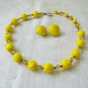 Bright Lemon Yellow Beads Spaced With Amber Crystals