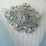 Spectacular Silver-Tone Pin With Blue & White Rhinestone Bouquet