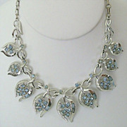 Signed Coro Blue Rhinestone Set on Brushed Silver