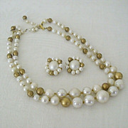 Vintage Bronze and White Bead Necklace