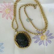 SALE Vintage Black Plastic Cameo Set On Gold-Tone Locket