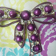 SALE Large Chrome Plated Purple Bow Coat Pin - 1930's