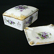 SALE Cigarette Box With Matching Ashtray - 1950's