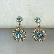 Earrings Sparkle With Large Turquoise-Color Rhinestone