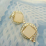 1950's Charel Earrings With Art Deco Flair