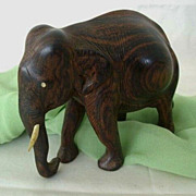 Classic Patterned Wood Elephant Figure