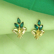 Emerald Green Teardrop Rhinestone Earrings By Coro