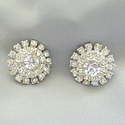1950's Dazzling Clear Rhinestone Clip Earrings