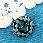 SALE Signed Native American Turquoise Pin 1960's