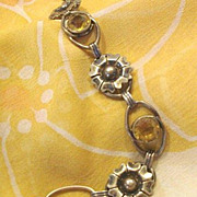 SALE 1930's Pr. St. Bracelet 12K GF Over Sterling With Topaz Glass Stones