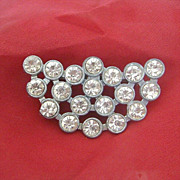 Half Moon Shaped Pot Metal Brooch Brilliant With Rhinestones