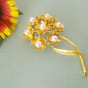 SALE Gold-Tone & Imitation Pearl Lapel Pin - 1960's