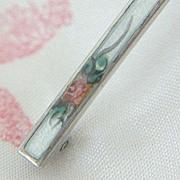 SALE Tiny Rosebud Featured On Signed Enameled Pin