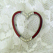 Open Enameled Heart Pin