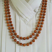 Extra Long Necklace Brown Wood Color Beads