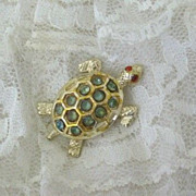 SALE Red-Eyed Turtle Pin Carries Green Rhinestones