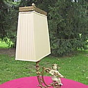 Metal Lamp Original Paint  With  Angel  and Decorative Fabric Shade