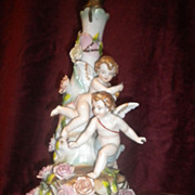 Porcelain Hand-Painted Lamp with Cherubs