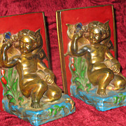 SALE Pair of Antique  Art Nouveau Bookends with Fairies and Butterflies