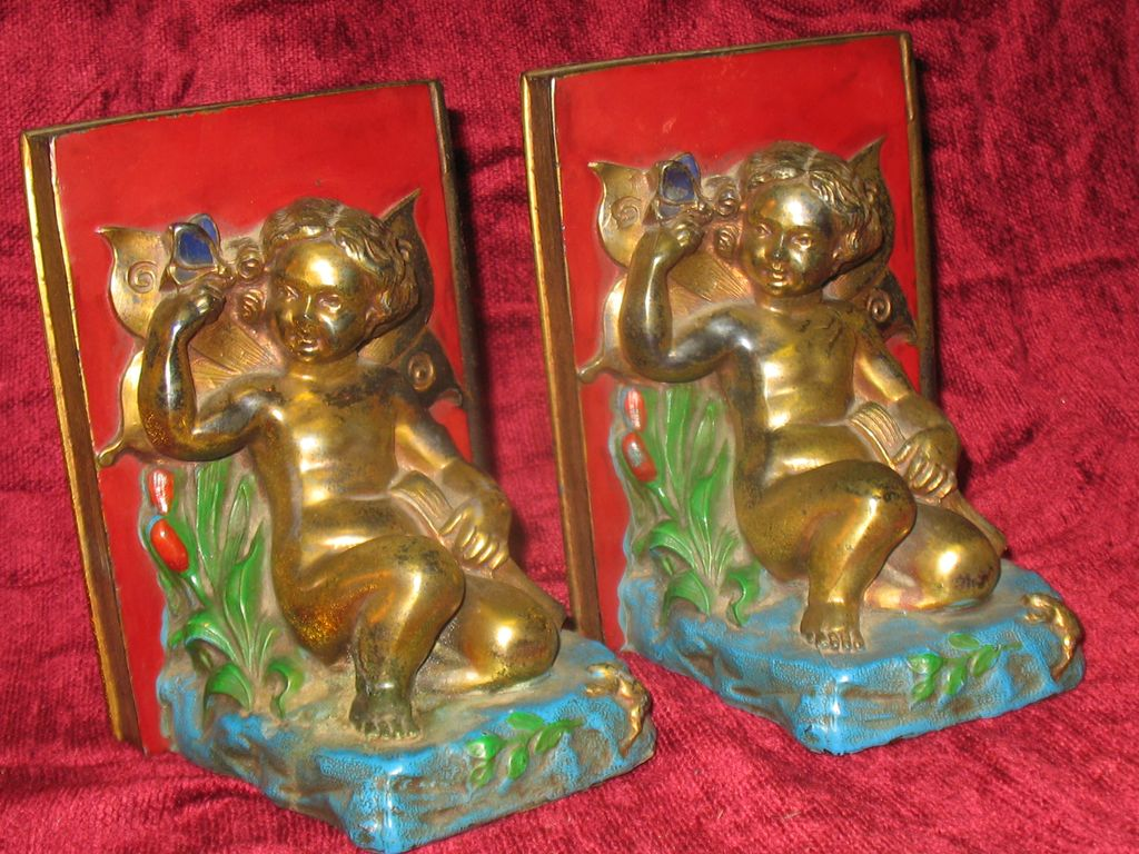 Pair of Antique  Art Nouveau Bookends with Fairies and Butterflies