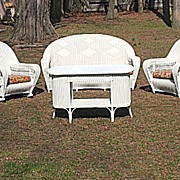 Large Art Deco Four Piece Wicker Parlor Set