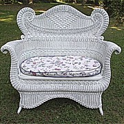 SALE Ornate Antique Victorian Wicker Settee