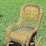 Fancy Natural Victorian Wicker Child's Rocker Heywood Brothers and Company