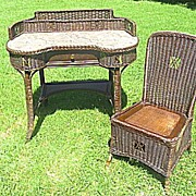 Natural Art Deco Wicker Desk and Chair