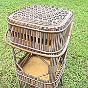Antique Early Victorian Wakefield Rattan Company Stick Wicker Sewing Stand